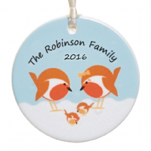 Robin Family Ceramic Christmas Tree Decoration